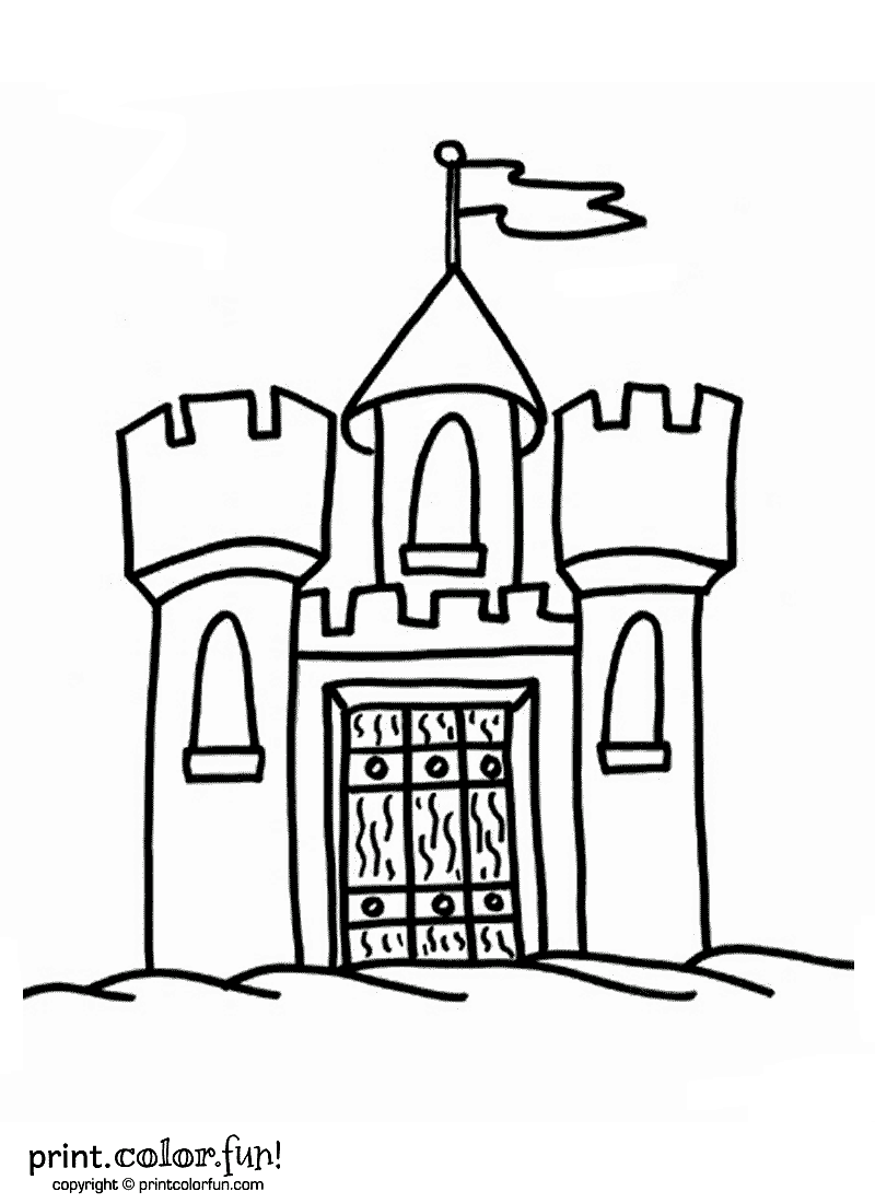 Castle With Flag Coloring Page Print Color Fun