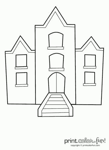 Building with windows coloring page - Print. Color. Fun!