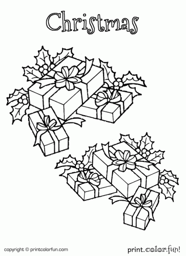 Christmas Boxes Coloring Page Print Color Fun