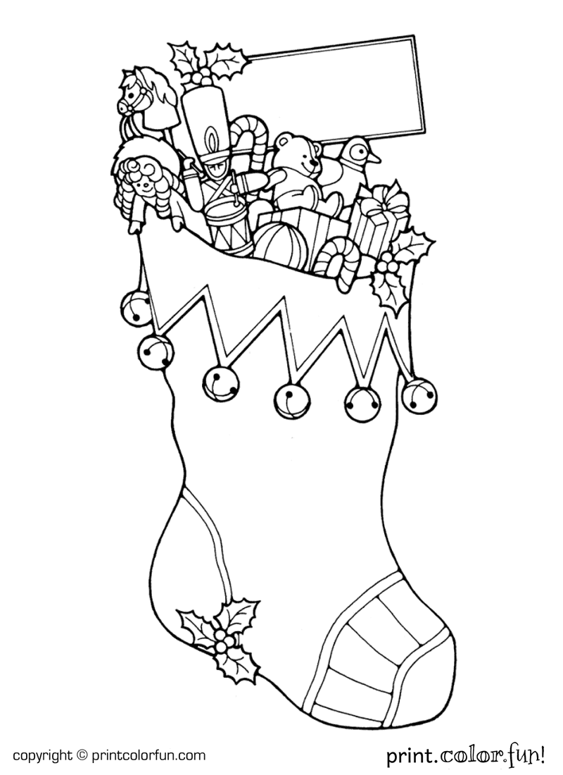 Christmas stocking coloring page print color fun for Christmas stocking color page