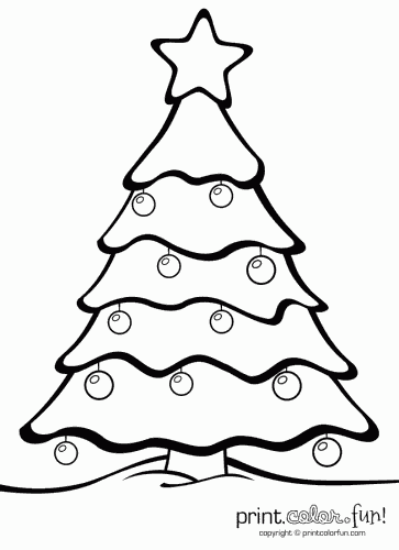 Christmas tree with ornaments coloring page - Print. Color ...