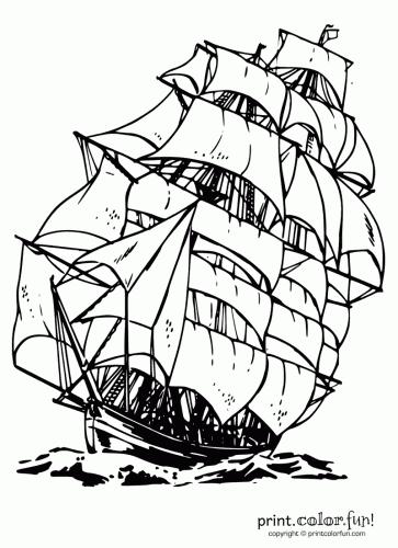 Clipper ship coloring page - Print. Color. Fun!