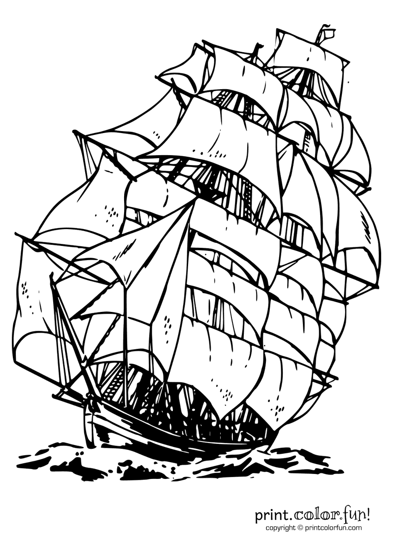 Clipper ship coloring page print color fun for Ships coloring pages