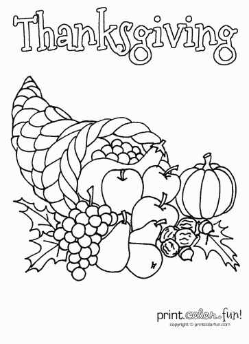 Thanksgiving Cornucopia Coloring Page Print Color Fun