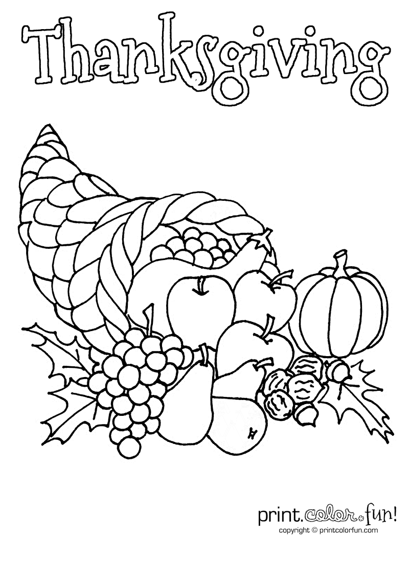 turkey and cornucopia coloring pages | Thanksgiving cornucopia coloring page - Print. Color. Fun!