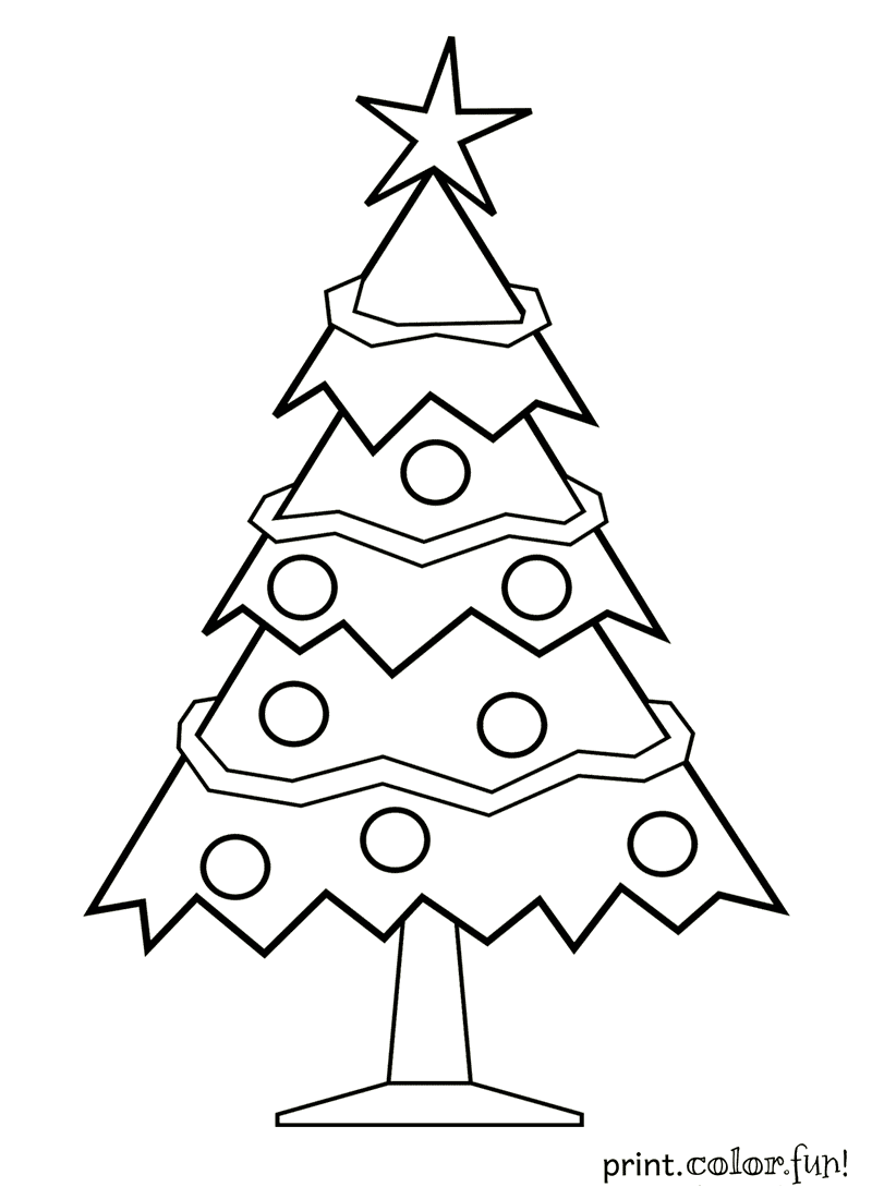 decorated christmas tree coloring page - print. color. fun!
