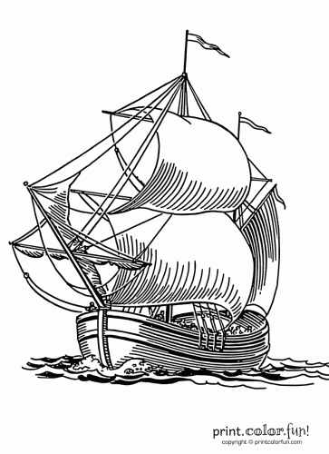 Sailing Ship Coloring Page Print Color Fun