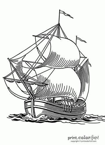 Sailing ship coloring page Print Color Fun