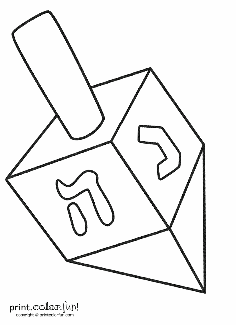 dreidel coloring page print color fun. Black Bedroom Furniture Sets. Home Design Ideas