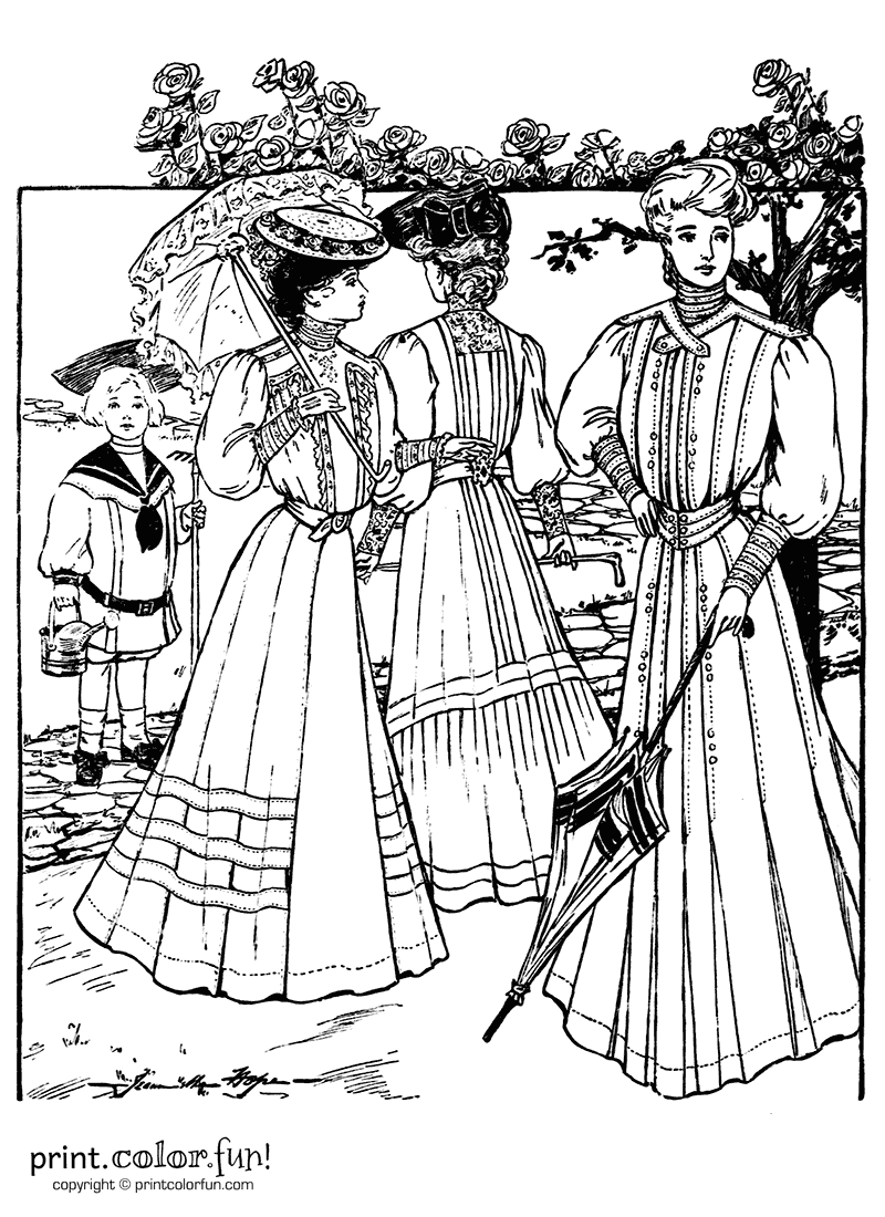 Dresses From The Summer Of 1905 Coloring Page Print