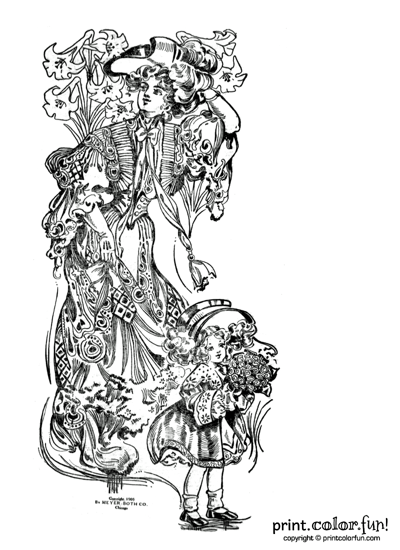 Woman and girl celebrating Easter coloring page - Print ...