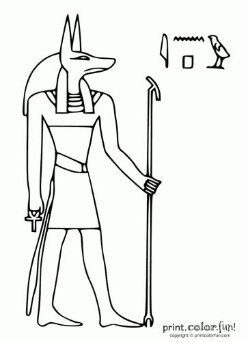 Egyptian God Anubis Coloring Page Print Color Fun