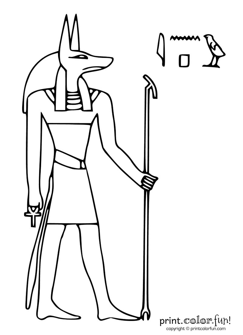 Egyptian god Anubis coloring page