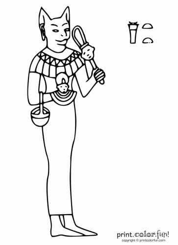 Egyptian goddess Bastet coloring