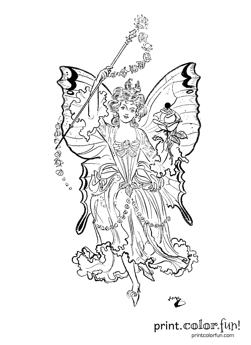 Fairy Princess Coloring Page Print Color Fun