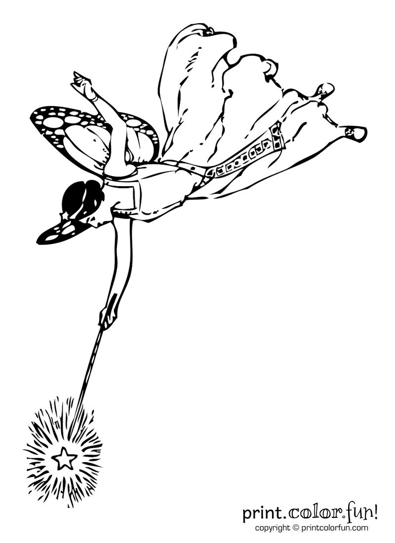 Fairy With A Wand Coloring Page Print Color Fun