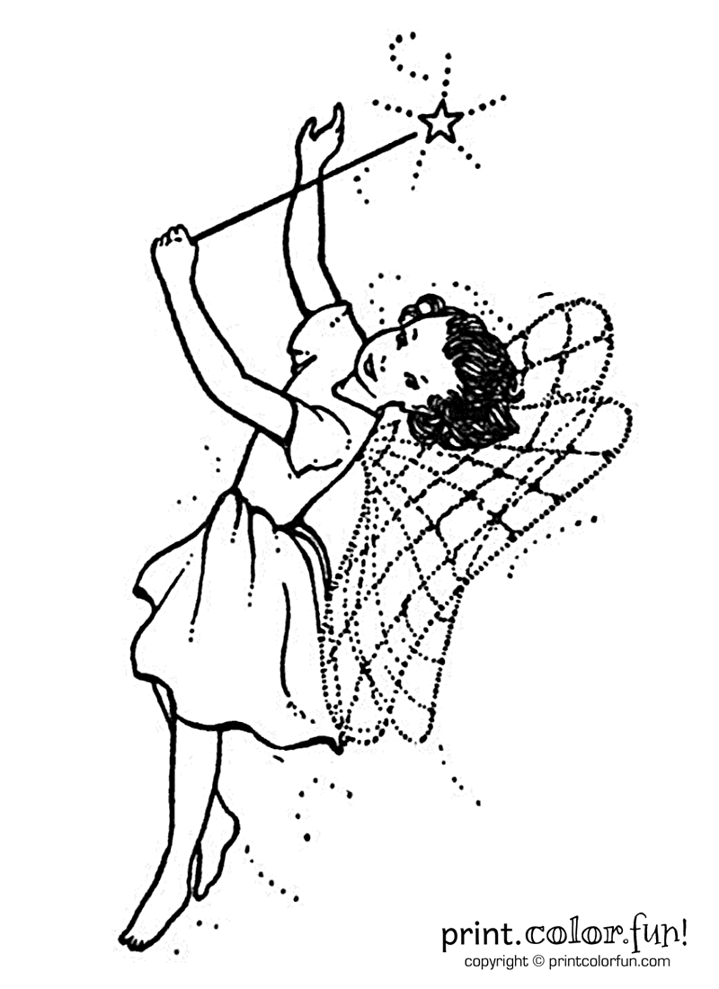 magic wand coloring page - fairy with a wand coloring page print color fun