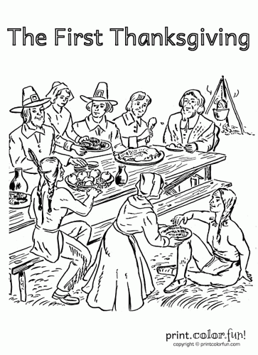 The First Thanksgiving Coloring page sheets: Native Americans ... | 500x363