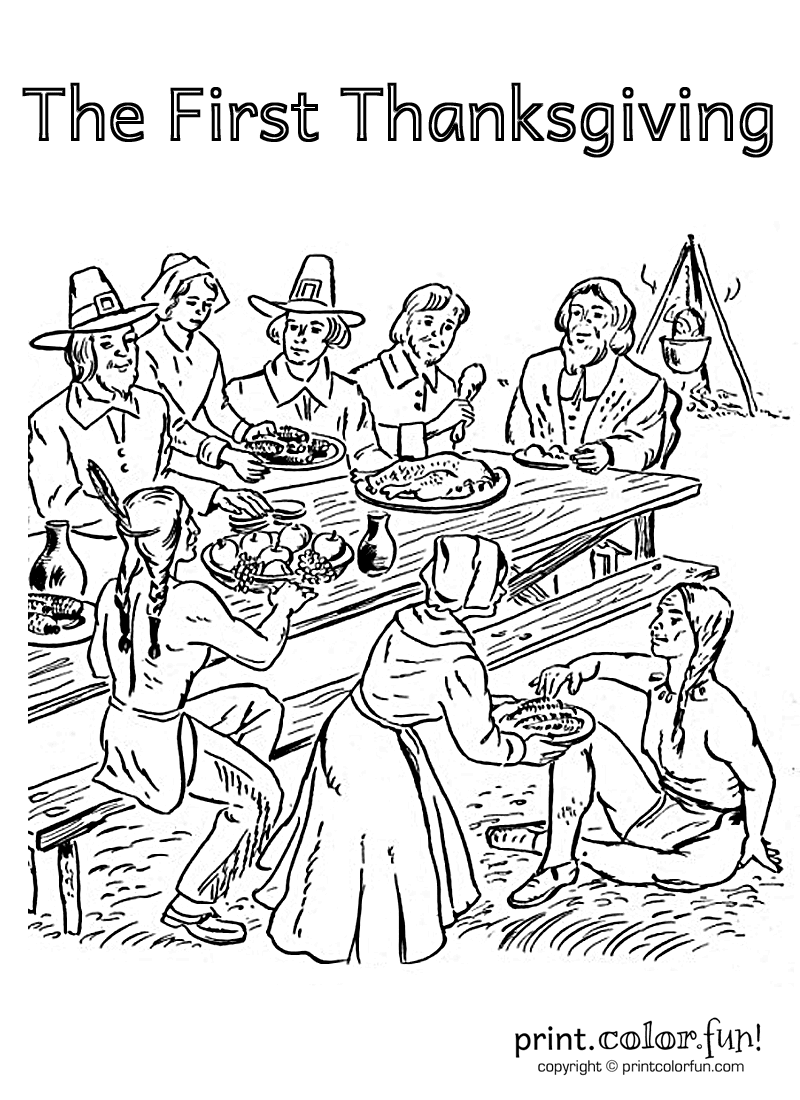Pilgrims first thanksgiving coloring pages ~ First Thanksgiving coloring page - Print. Color. Fun!