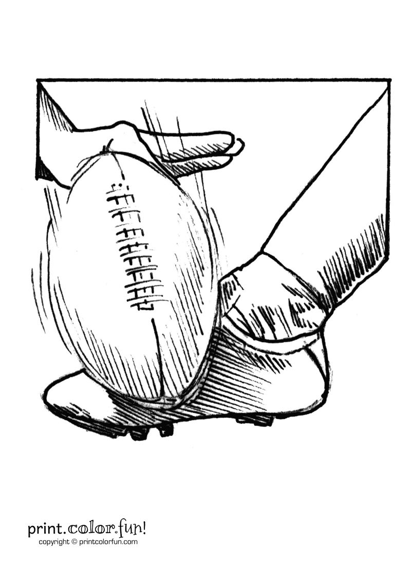 Kicking a football coloring page