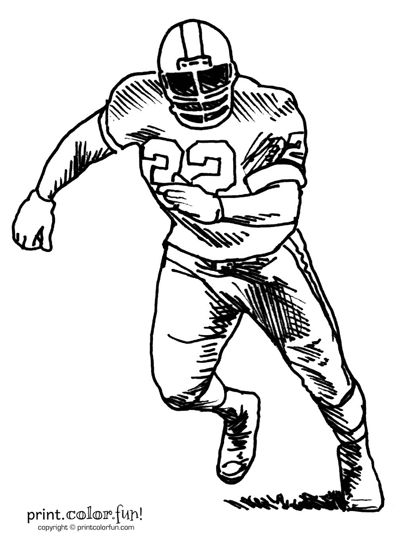 football player coloring pages printable - football player cartoon free coloring pages