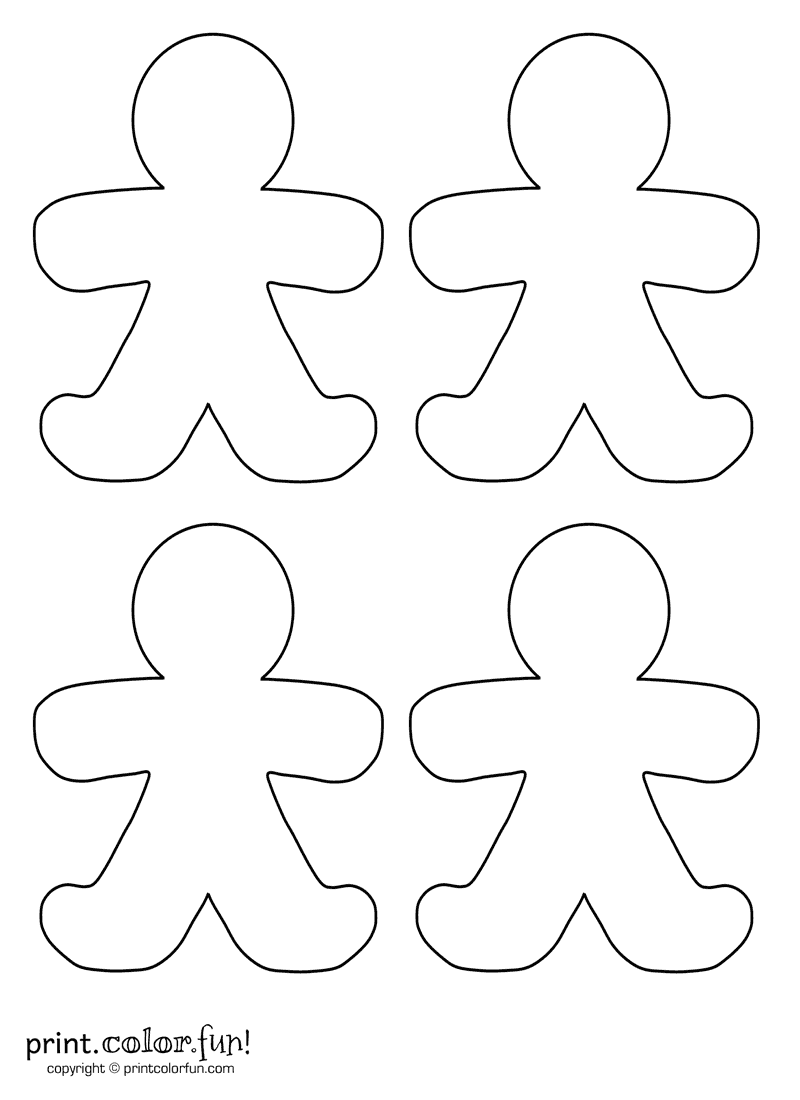 cut out coloring pages - four blank gingerbread men coloring page print color fun