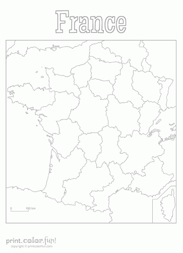 Blank map of France coloring page