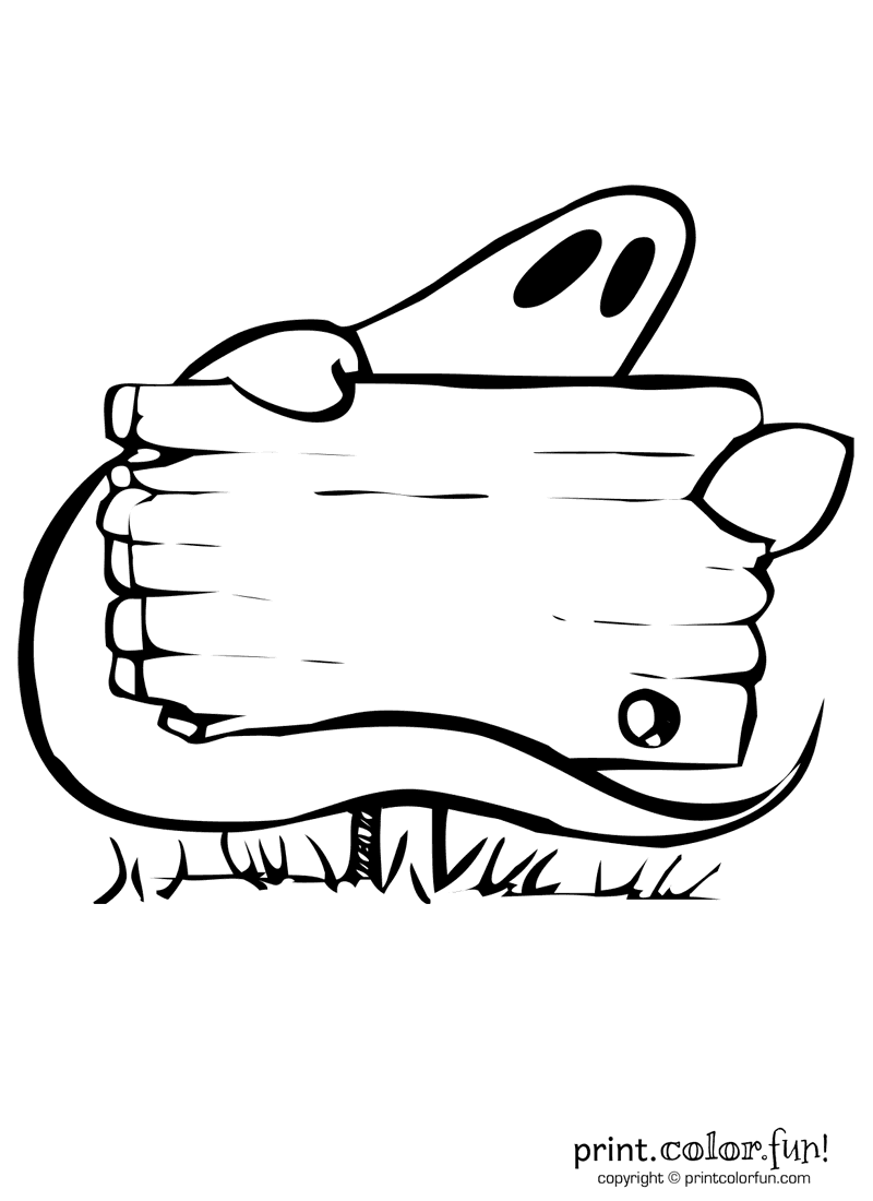 Halloween ghost with sign coloring