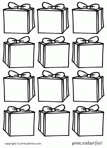Gift tags: Boxes coloring page - Print. Color. Fun!