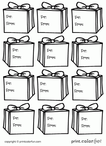Gift box gift tags coloring page - Print. Color. Fun!