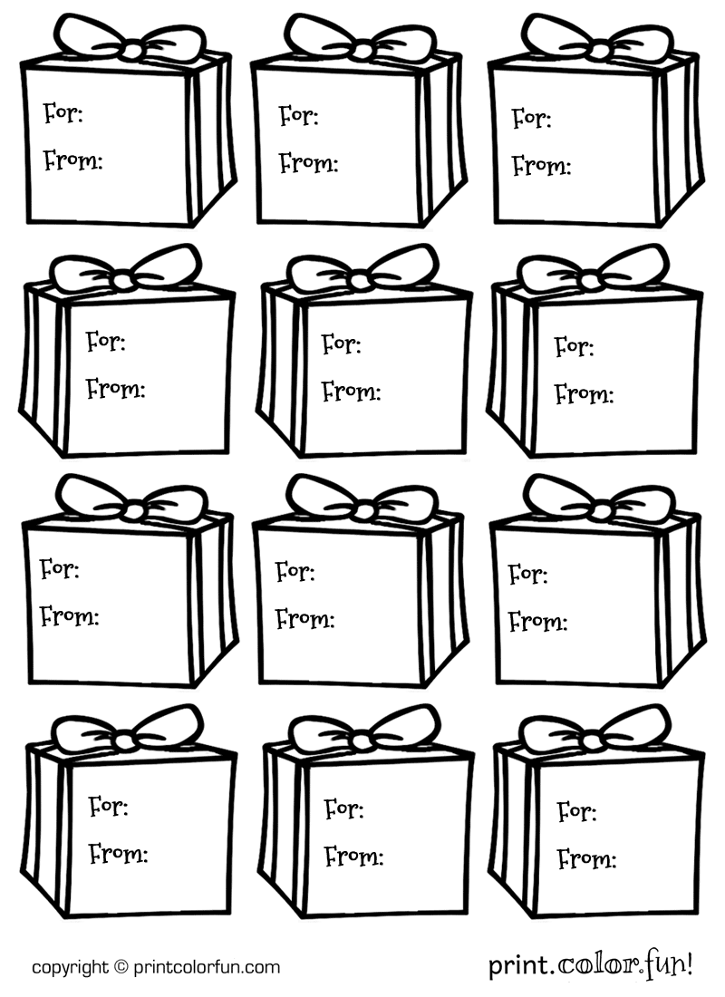Gift tags Presents coloring page