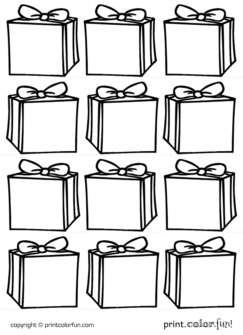 Gift tags Boxes coloring page Print Color Fun