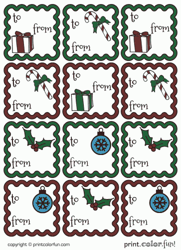 christmas gift tags set 1 colored