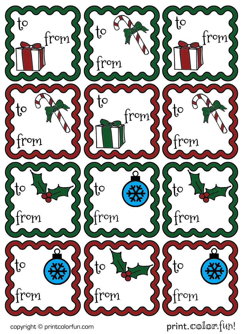 Christmas gift tags ruffled colored coloring page