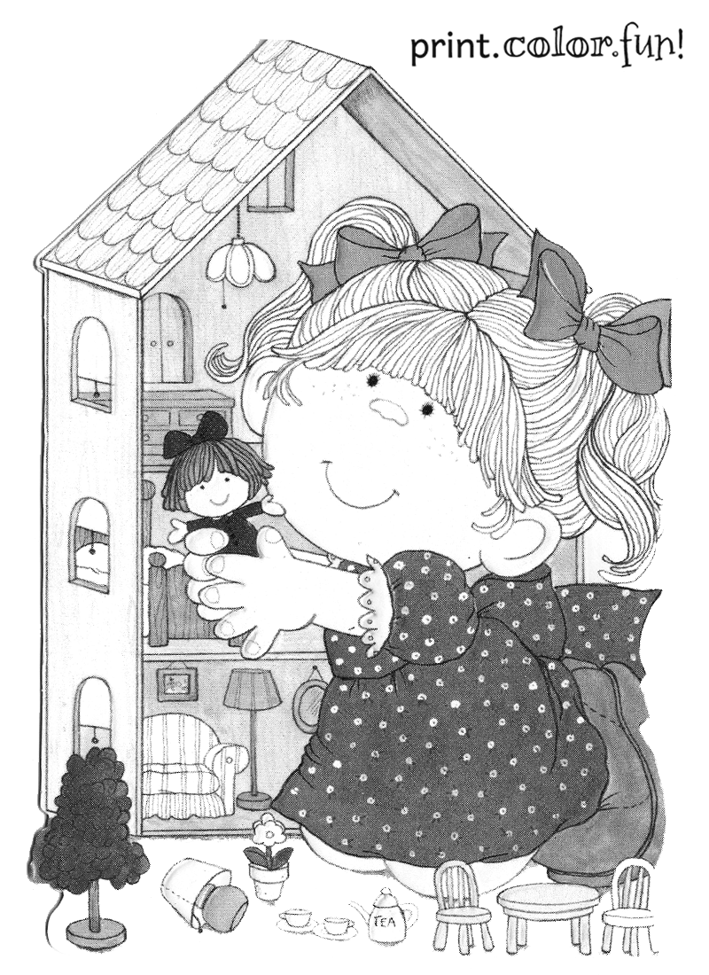 Girl With Her Dollhouse Coloring Page