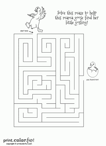 Mama Goose Mazes Coloring Page Print Color Fun
