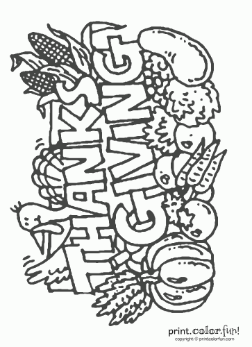 Happy Thanksgiving sign coloring page - Print. Color. Fun!