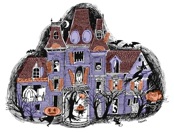 Classic Haunted House For Halloween Coloring Page Print