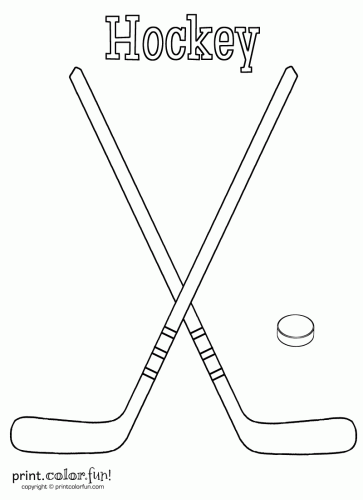hockey sticks and puck coloring page print color fun