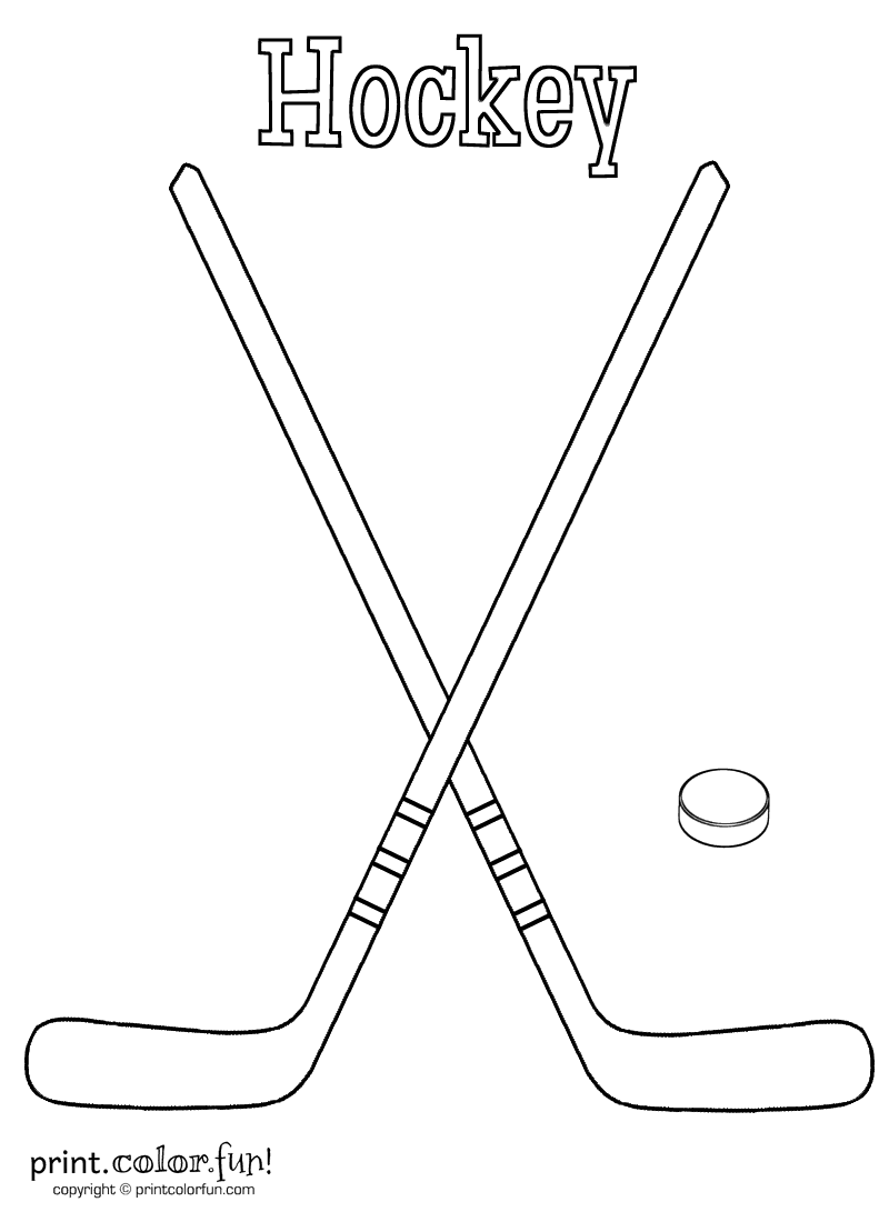 Hockey sticks and puck coloring