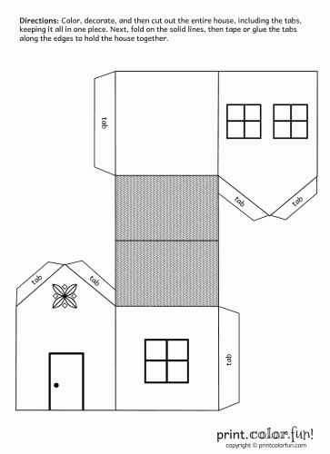 House cutout craft coloring page