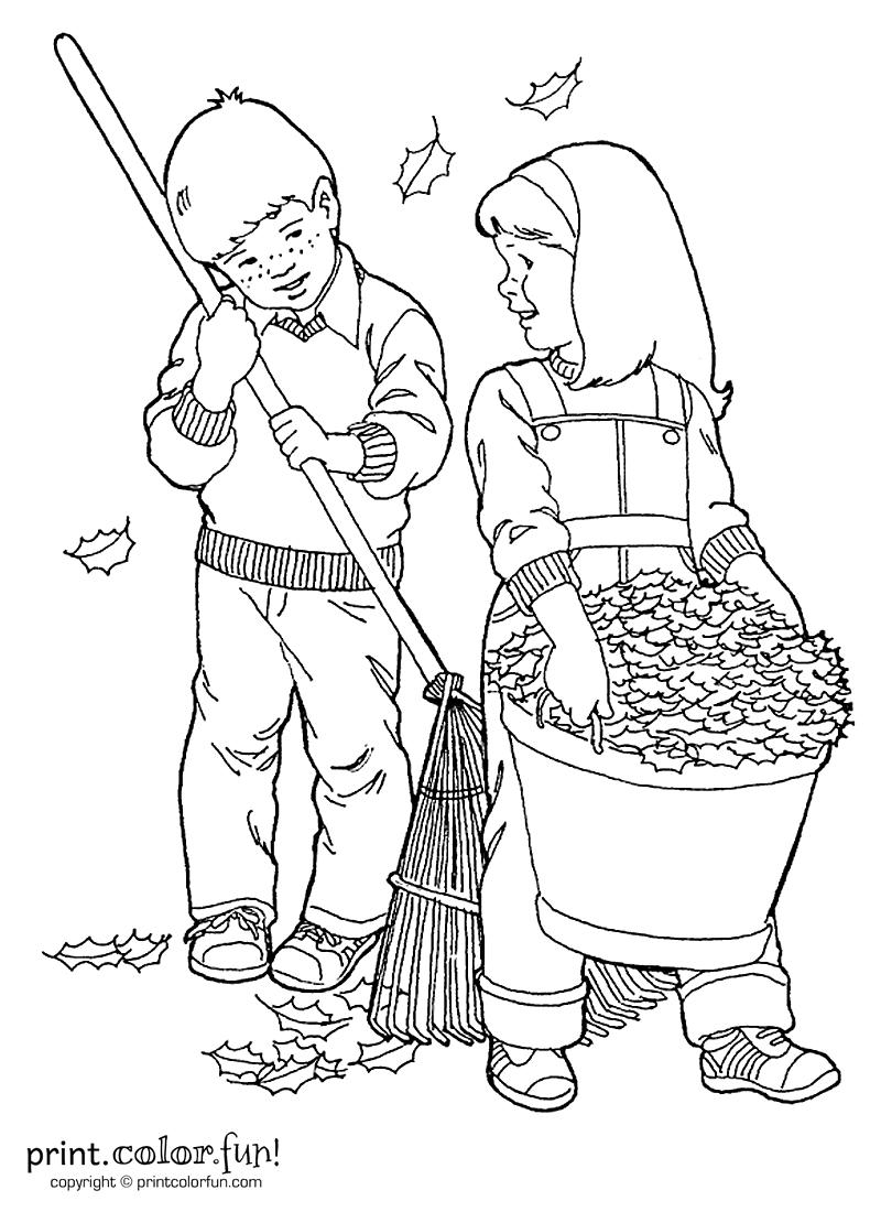 kids raking leaves coloring page print color fun