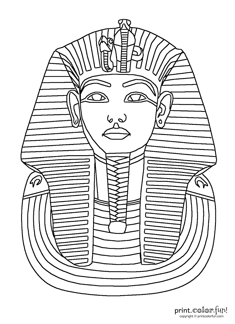 king tut mask coloring page print color fun - Colour In Sheet