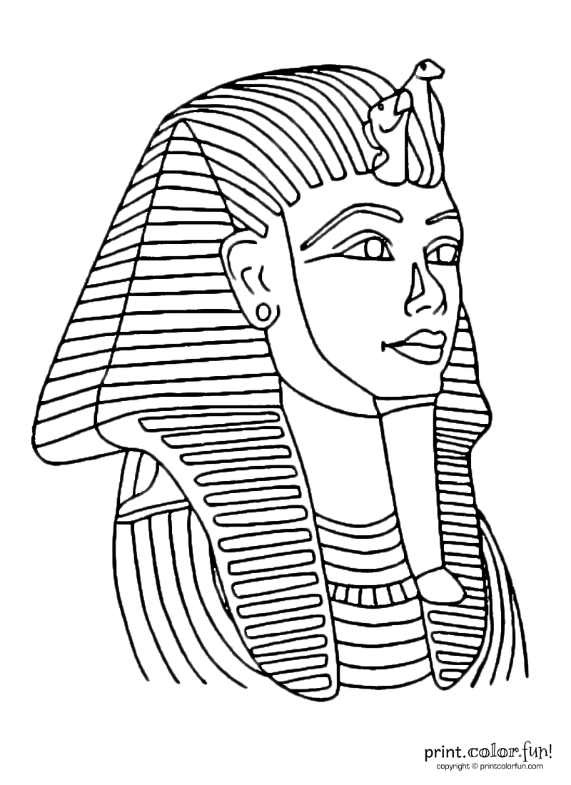 Tutankhamun mask coloring page print color fun for King tut mask template