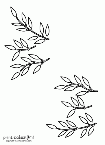 Leaf and stem stencils coloring page - Print  Color  Fun!
