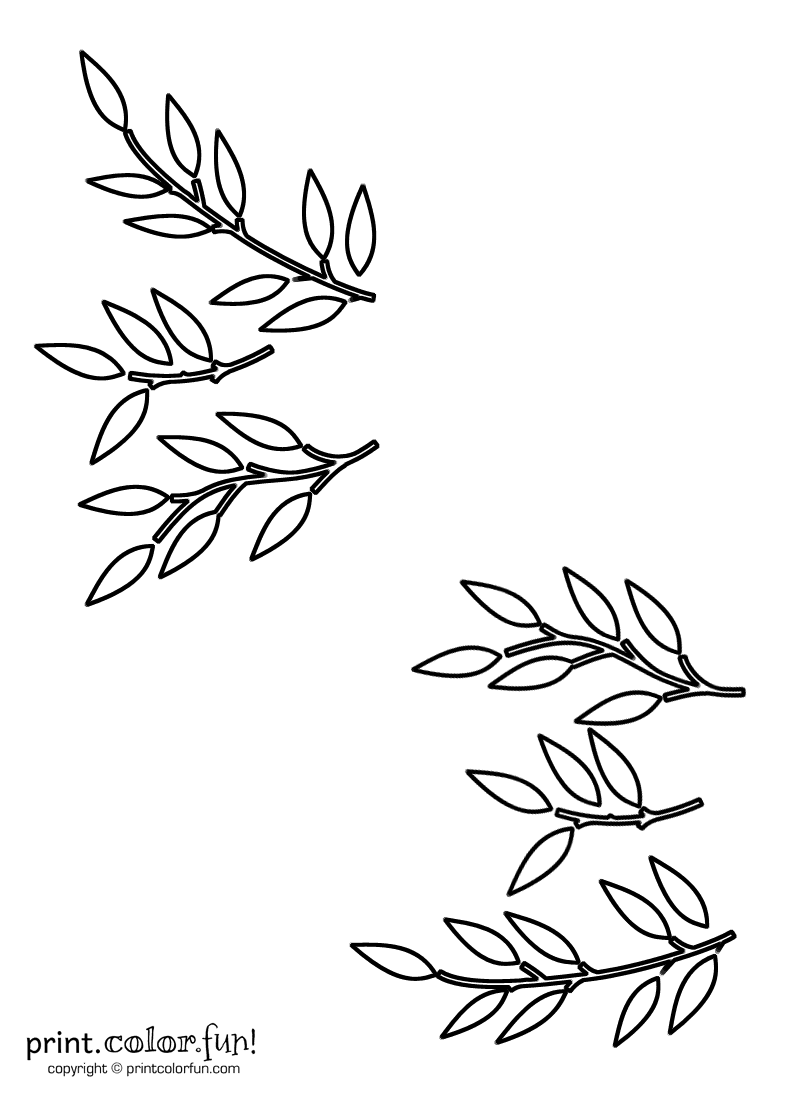 Leaf and stem stencils coloring page - Print. Color. Fun!