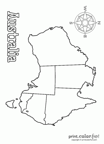 Blank map of Australia coloring page - Print. Color. Fun!