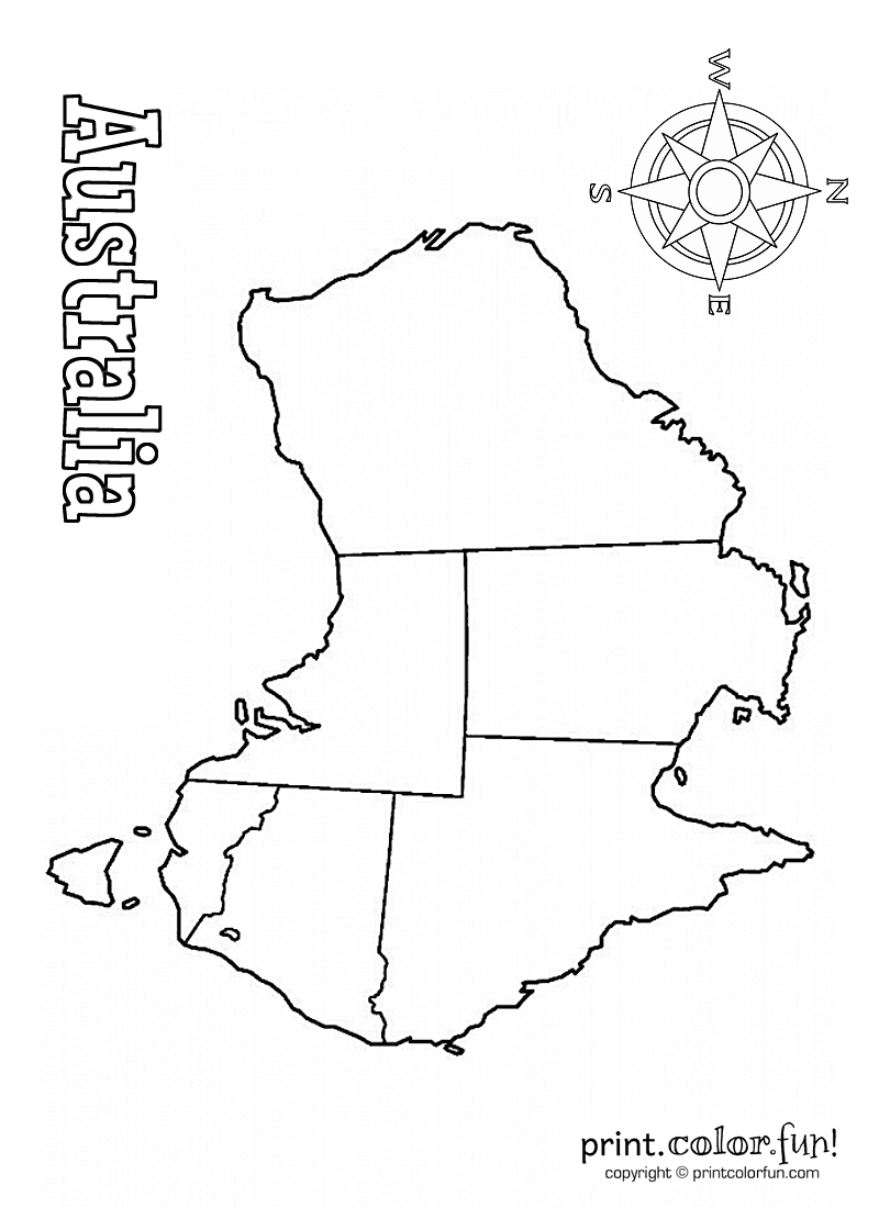 Blank map of australia coloring page print color fun for Australia map coloring page