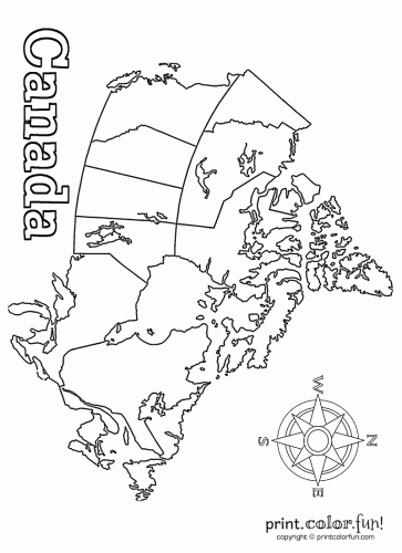 Blank map of Canada coloring page