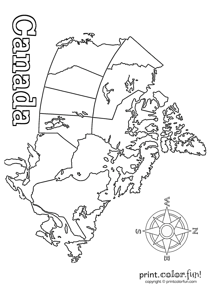 Map of Canada coloring page Print Color Fun